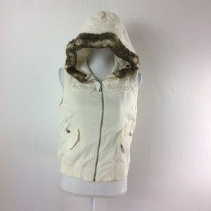 F7 Ann Taylor LOFT Fur Trim Vest Size SP